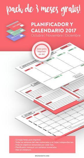 Planificador y calendario - pack de 3 meses (Octubre, Noviembre y Diciembre 2017) Descargable y gratis. Contiene: Planificador diario semanal en hojas independientes por cada semana y con las semanas del año numeradas. Planificador de objetivos semanales por cada mes, en el que podrás ver todas semanas que tiene el mes de un vistazo. Calendario mensual de objetivos con semanas numeradas. Mes en miniatura de la portada Diseño minimalista