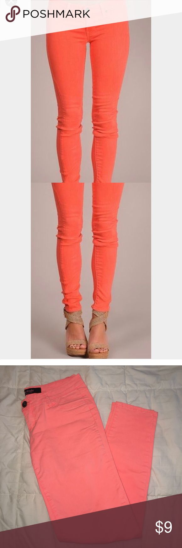 Coral Skinny Jeans In perfect condition- only wore once! Free Style Revolution jeans with skinny fit. Perfect for summer!! Fits 2/4 Jeans Skinny