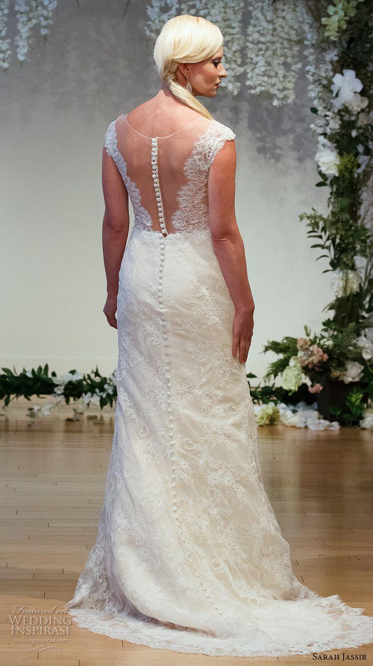 sarah jassir 2017 bridal cap sleeves illusion boat deep plunging v neck elegant sexy sheath wedding dress middle slit sheer back sweep train (4) bv