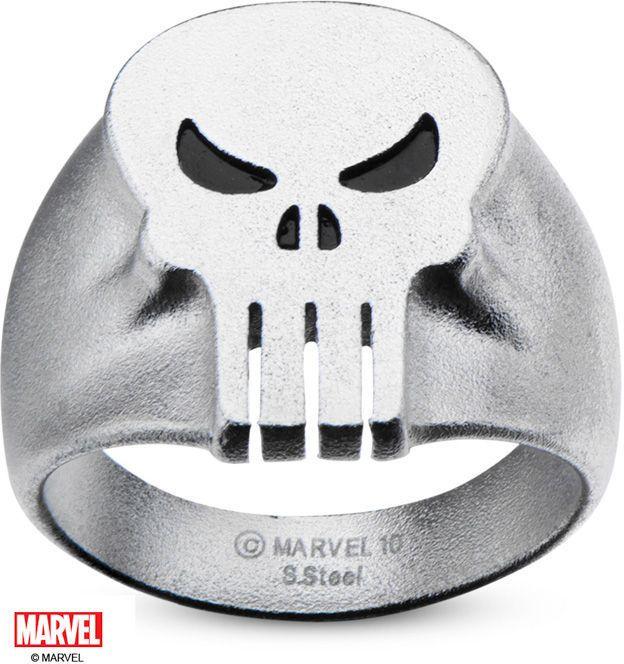Zales © MARVEL Men's Black Enamel Punisher Skull Ring in Stainless Steel