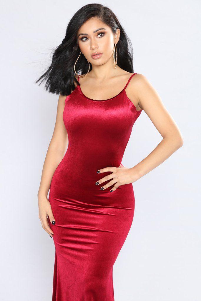 Velvet Mermaid Dress - Wine
