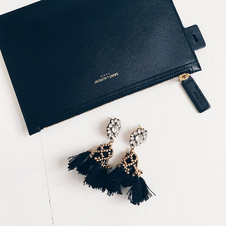 Earrings: My Shining Armour Black Tassel Earrings with Clear Crystals and Gold. Bag: Saint laurent Shop at http://myshiningarmour.com