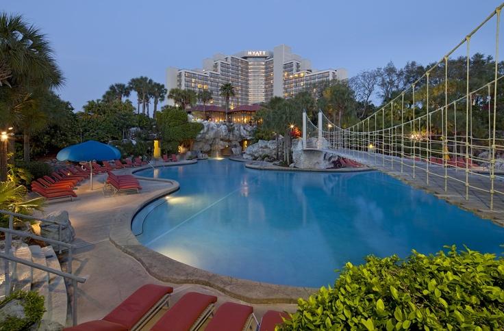Twelve cascading waterfalls and two water slides make Hyatt Regency Grand Cypress' Orlando Resort Pool unique.
