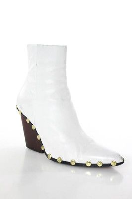Celine White Leather Pointed Toe Phoebe Philo 2016 Studded Rodeo Boots Size 8.5