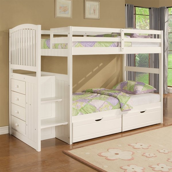 Powell Angelica Arch Spindle Chest End Step Twin Over Bunk Bed Trundle