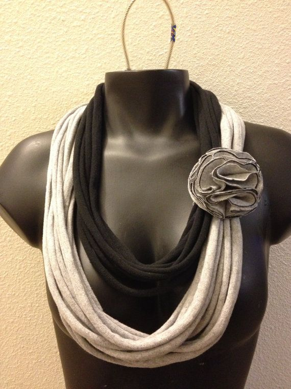 Black and Grey Infinity TShirt Scarf by WatchingTheWheels on Etsy, $16.00