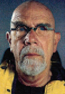 Chuck Close Self-Portrait (Yellow Raincoat) 2013 archival watercolour pigment print on Hahnemuhle rag paper Edition of 10 copyright Chuck Close in association with Magnolia Editions, Oakland, courtesy Pace Gallery Photograph courtesy Magnolia Editions, Oakland and Pace Gallery