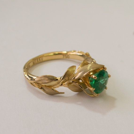 Leaves Engagement Ring No.7 - 18K Gold and Emerald engagement ring, engagement ring, leaf ring, filigree, antique, art nouveau, vintage by doronmerav