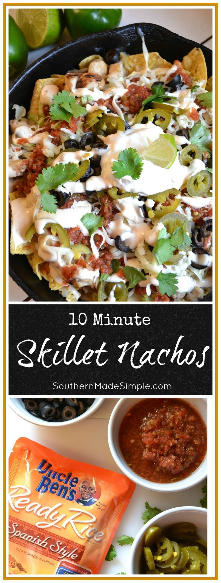 10 Minute Skillet Nachos are a perfect meal or snack on busy weekdays or even for game day! This meal is easy for kids to help prepare and can be personalized with all of your favorite nacho toppings! #BensBeginners #UncleBensPromo #ad /unclebensrice/