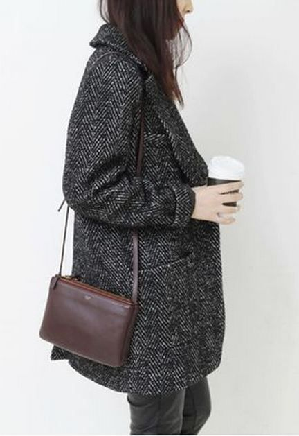 Charcoal coat for in flight travels and cooler cities / the love assembly