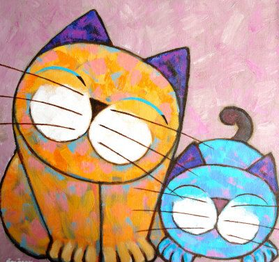 Two Cats Painting at ArtistRising.com I like the simple cats, it would be interesting to do a simple cat or other object drawing with a complexly patterned background.