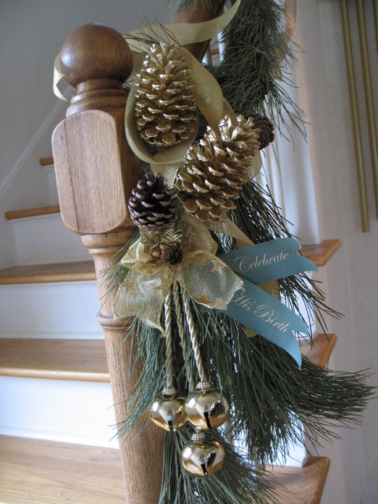 Decorated newel post.