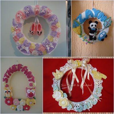 Enfeites para Porta de Maternidade em Crochê Personalizados- sob encomenda
