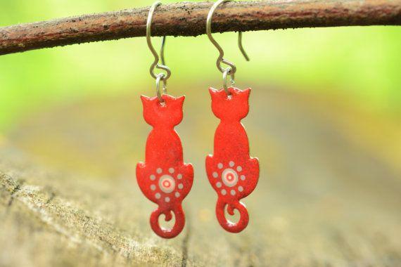 Quirky Cat Earrings Red Cat Enamel Earrings by CinkyLinky on Etsy