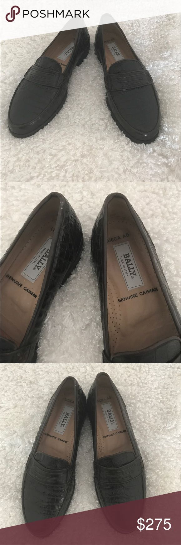 BALLY'S MENS SHOES BALLY'S MENS SHOES SIZE 9 1/2 M DARK BROWN REAL CAIMAN. MADE IN ITALY BALLY Shoes Loafers & Slip-Ons