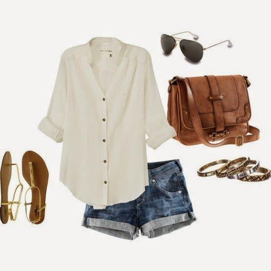 Street Fashion: White Shirt, Mini Jeans Short, Brown Hand Bag, Black Sunglasses, Golden Colored Sandal, Golden Colored Accessoriess