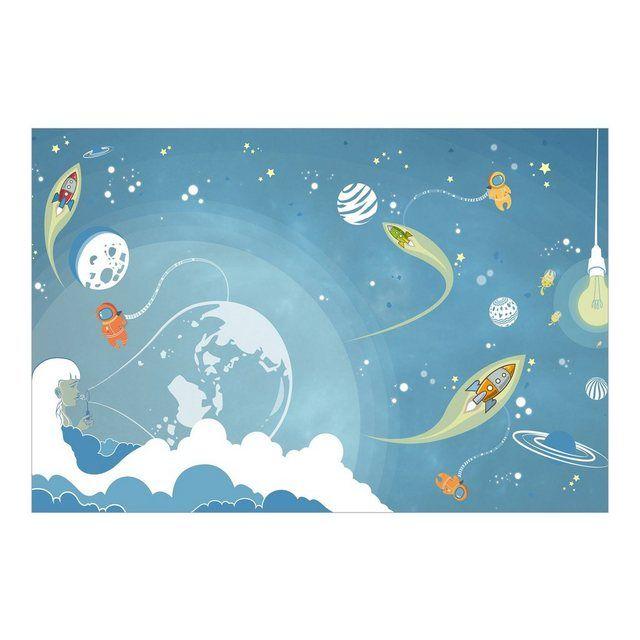 Kinderzimmer Vliestapete Premium Breit »Buntes Weltraumtreiben«