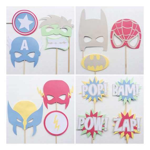 Super Hero Baby Shower Photo Booth Props; Pastel Superhero Props ; The Justice League ; Batman Birthday Party; Marvel Props by Lets Get Decorative