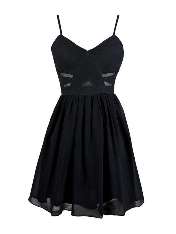 A-Line Spaghetti Straps Sleeveless Black Short Homecoming Cocktail Dress with Pleats 2