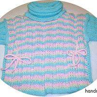 Dívčí pončo, tunika s rolákem, kapucí a rukávy; baby poncho, knitting, hood.