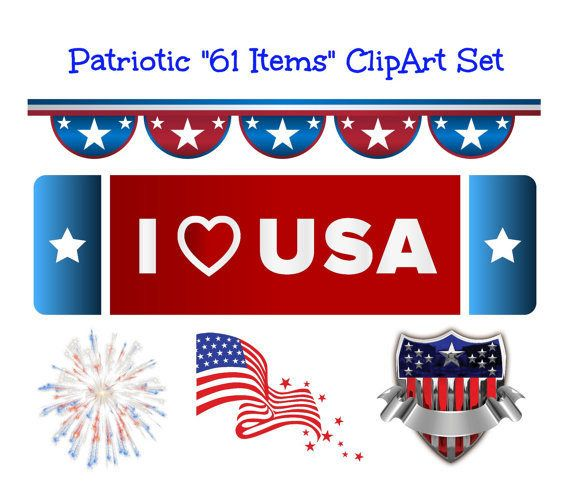 Patriotic Digital Download Big Clip Art Set Patriotic Images Independence Day July 4th Transparent Background Red White Blue U.S.A. Clipart by ICreateAndCollect on Etsy