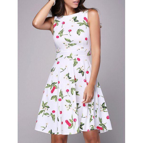 Trendy Women's Round Neck Sleeveless Cherry Print Knee-Length Dress #men, #hats, #watches, #belts, #fashion, #style