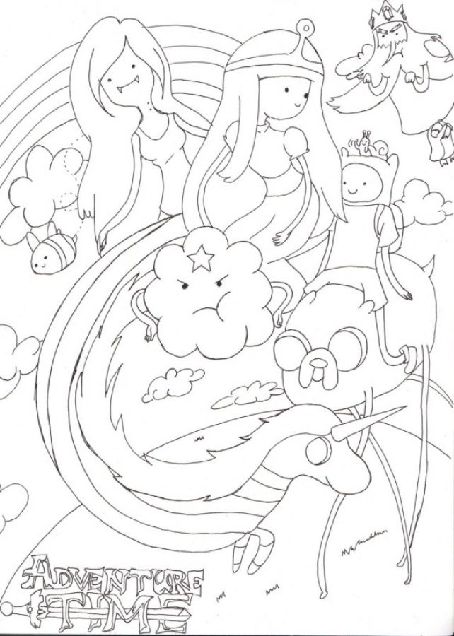 Beautiful Cartoon Doodle Of Adventure Time Coloring Pages