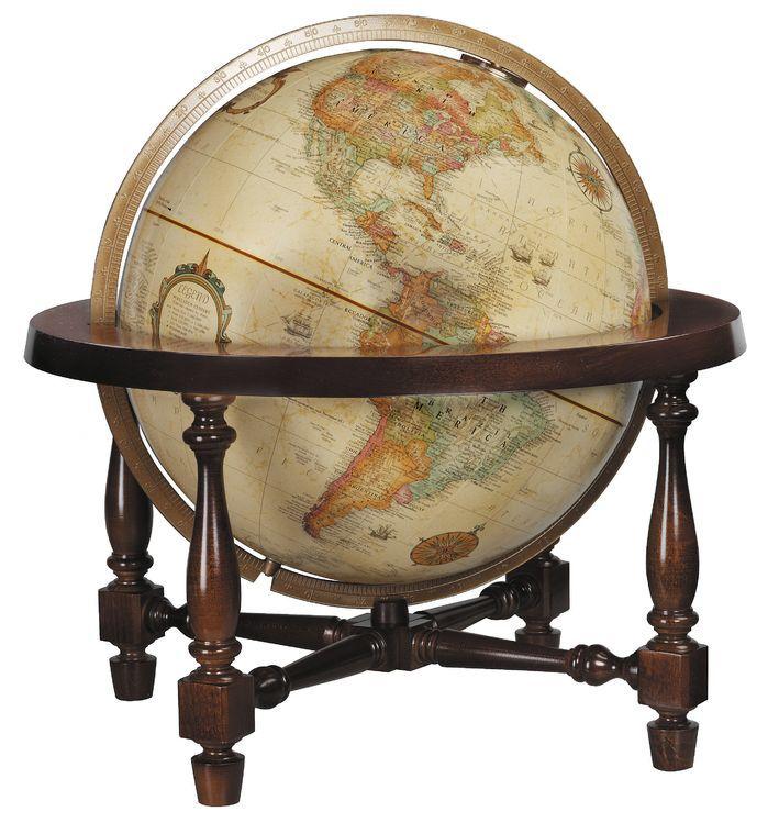 Features:  -Desk or tabletop globe.  -Full die-cast meridian adds Old World appeal.  -Antique ocean globe.  -Raised-relief detailing.  -Displays modern geographical boundaries.  -Globe diameter: 12''.