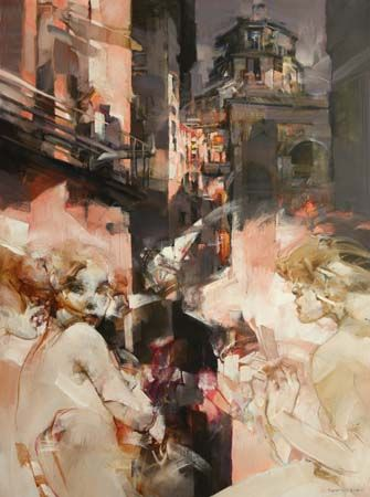 Vanni SALTARELLI, Rencontres, 130 x 97 cm, huile sur toile. http://www.galeriealaindaudet.fr/vanni-saltarelli/