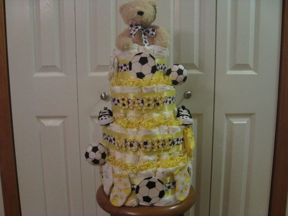3 or 4-Tier Sports Theme Diaper Cake by shoretopleasedesigns