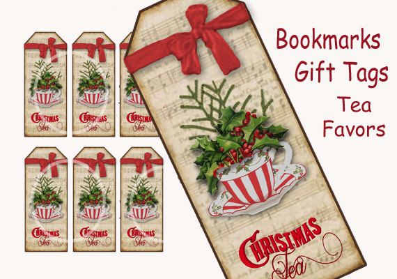 Christmas Tea Bookmarks-Tags-Tea Party Favor-Card by sssstudio, Etsy, printable tea party items