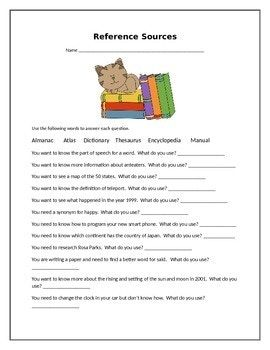 Reference Sources Worksheet | Dictionary & Reference Skills ...