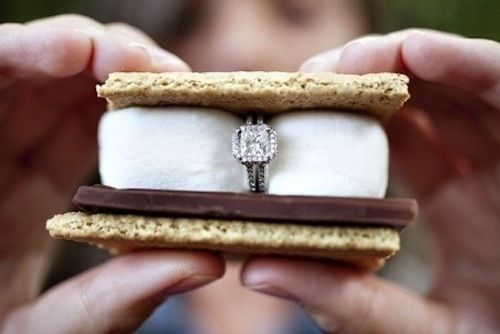 With a s'more. | 17 Terrible Ways To Propose ToSomeone