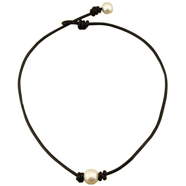 16 Single Pearl Necklace for Women Handmade Leather Choker Jewelry (¥960) ❤…