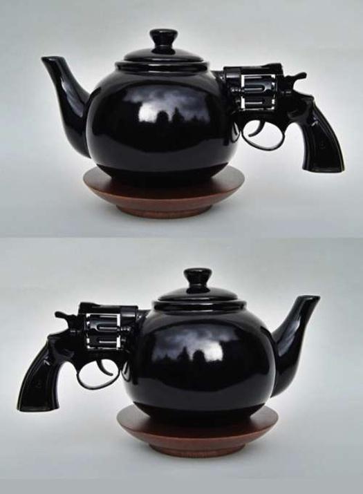 Assemblage of Ceramic teapot with plastic, toy gun handle by Dennis Shields (2008): Ceramic Teapot, Revolvers Teapots, Teas Time, Cups, Dennis Shield, Teas Pots, Bangs Bangs, Guns Teapots, Drinks