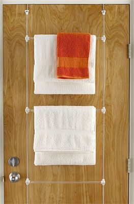 Use these for hang drying laundry as well. ( $17) The Container Store > Bungee Overdoor Towel Rack by Umbra® good to put over the door to dry stuff