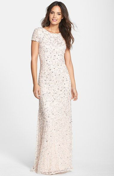 Adrianna papell short sleeve sequin mesh gown regular for Nordstrom short wedding dresses