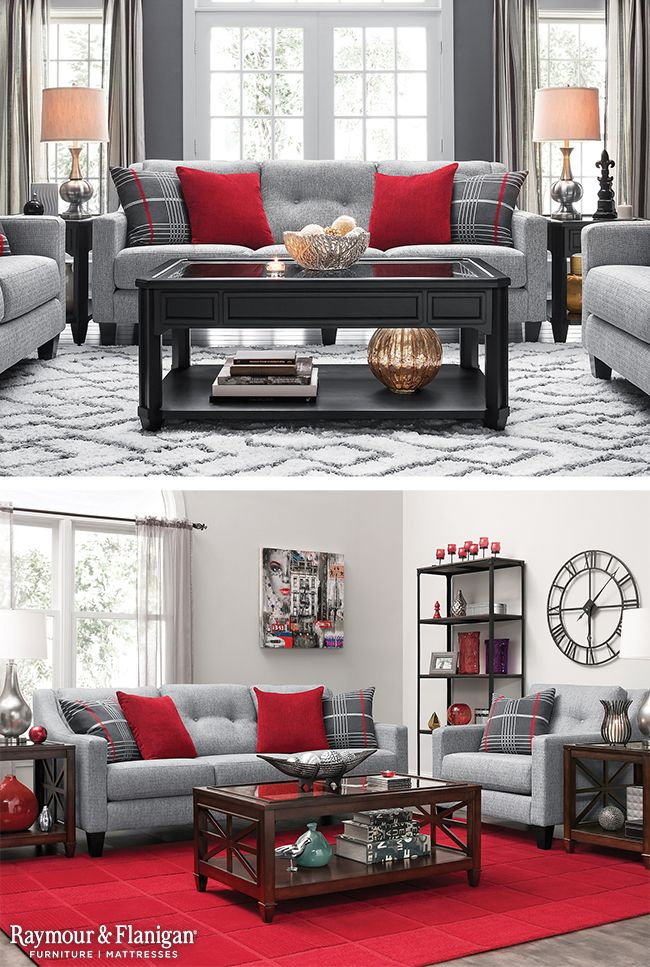 One great way to decorate with red is to add in bright red accents to your space. This living room collection comes with these fun throw pillows, which make for a perfect addition to these spaces!