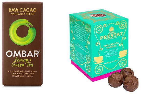 Ultimate Gift for Tea Lovers - Tea Infused Chocolate. Ombar Green Tea and Lemon Chocolate, Prestat Earl Grey Tea Truffles