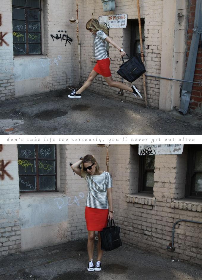 converse // pencil skirt // stripes