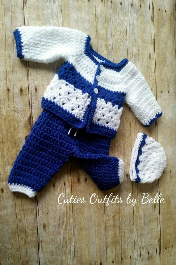 9fda21a502f6a Baby Boy Outfit, Newborn Coming Home Outfit, Crochet Baby Set ...
