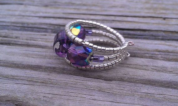 Beaded Memory Wire Ring - Purple and Silver Glass on Etsy, $12.00