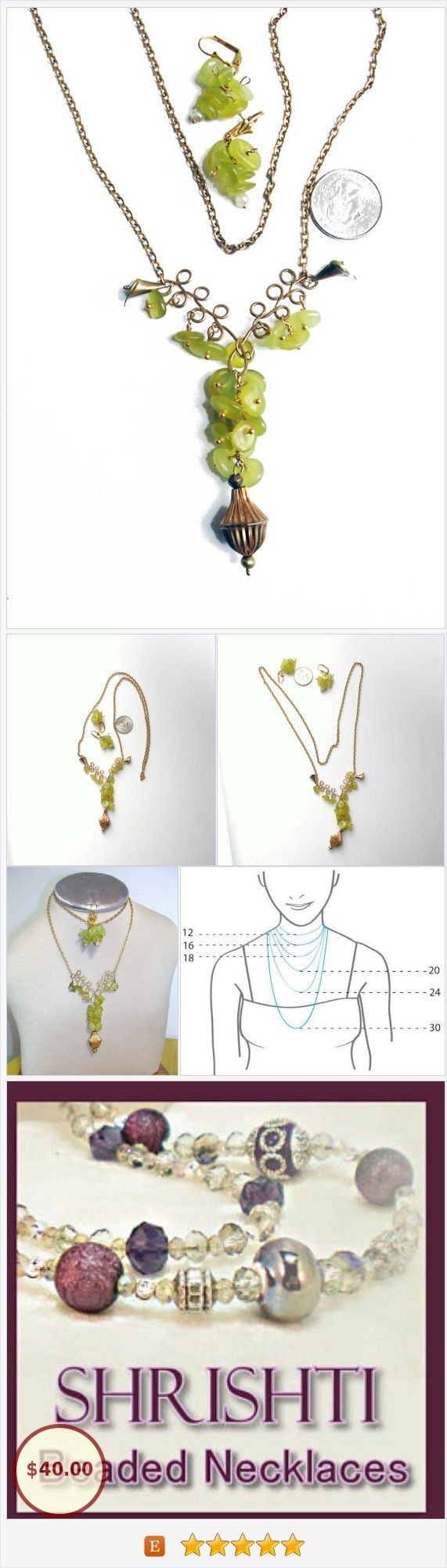 """Green Jade Necklace, """"Grapes on the Vine"""" - Wire Wrap Jade Pendant - Matching Earrings- Beautiful One of A Kind Design https://www.etsy.com/BEADEDNECKLACESHOPPE/listing/166896533/green-jade-necklace-grapes-on-the-vine?ref=related-3"""