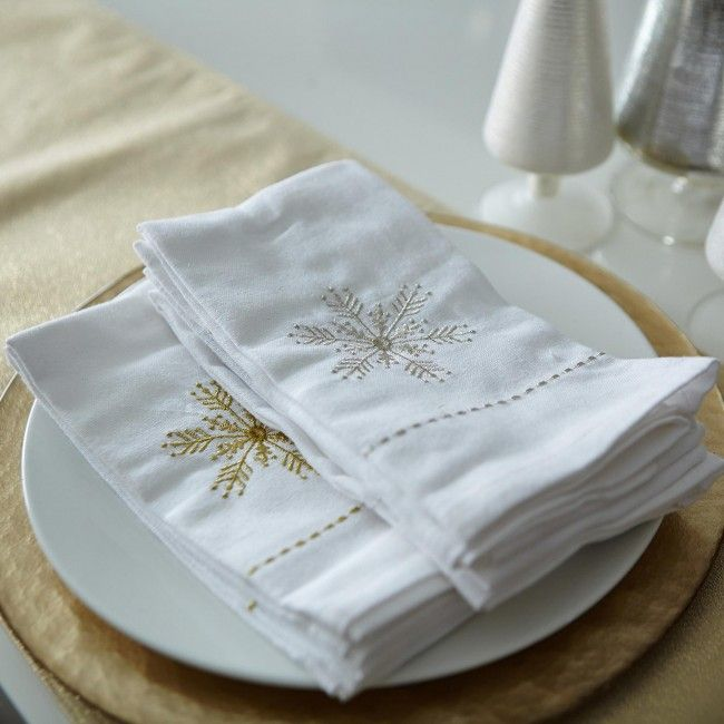 These embroidered snowflake napkins will help make your holiday dinners even more festive.
