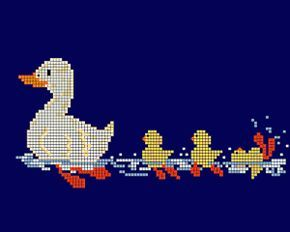 Duck Family | Cross-Stitch | CraftGossip.com (this would be cut on a hooded bath towel for baby)