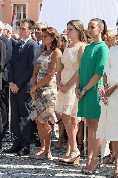 (L-R) Louis Ducruet, Princess Stephanie of Monaco, Camille ...