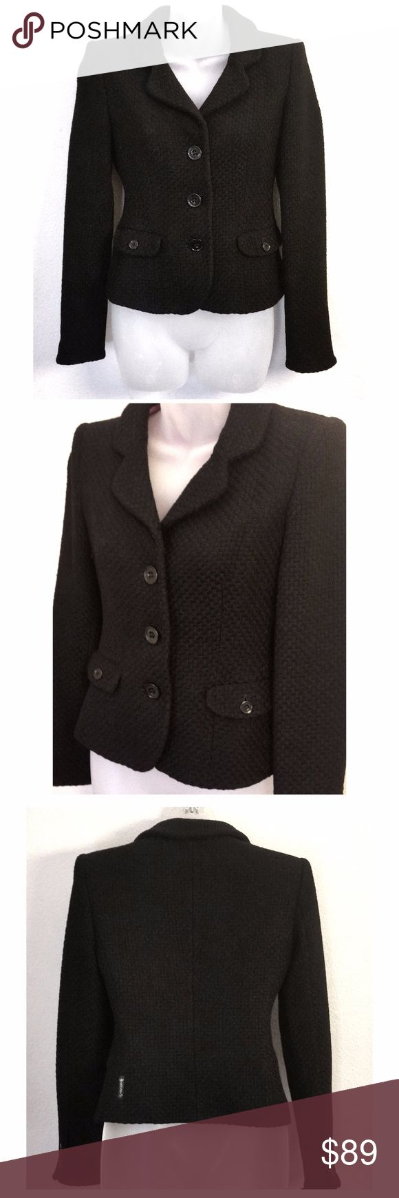 AJ Armani Black Tweed Jacket Women's Size 38 Excellent condition  Size 38  Black  Cleaning Out Closet Sale No Trading Thank you Armani Jeans Jackets & Coats Blazers