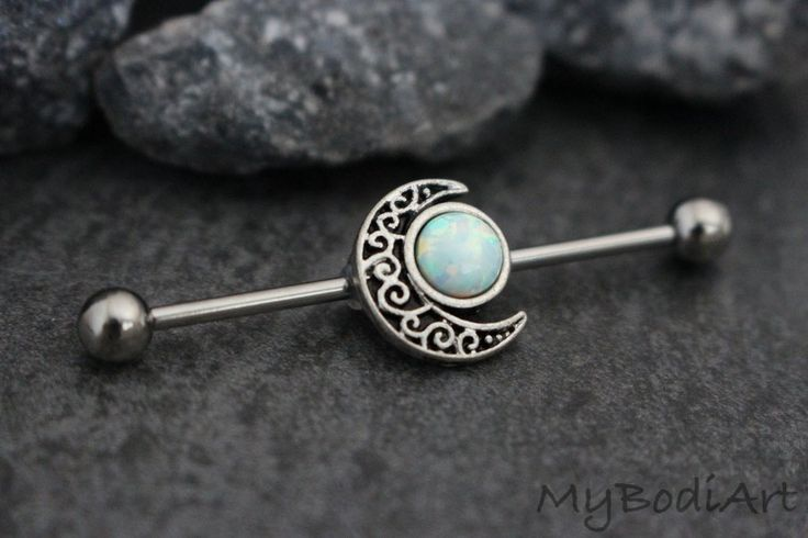 Unique Opal Moon Cute Industrial Piercing Barbells Bars at MyBodiArt