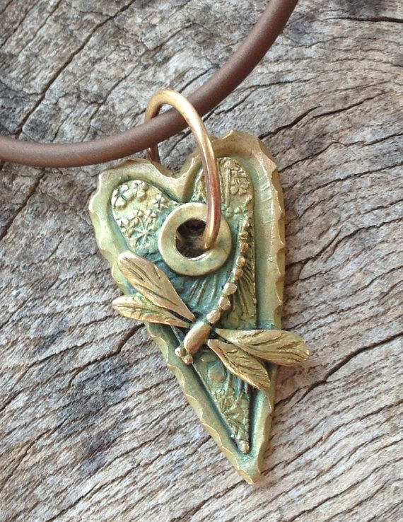 Bronze Dragonfly Heart PendantFor your by cristinaleonard on Etsy