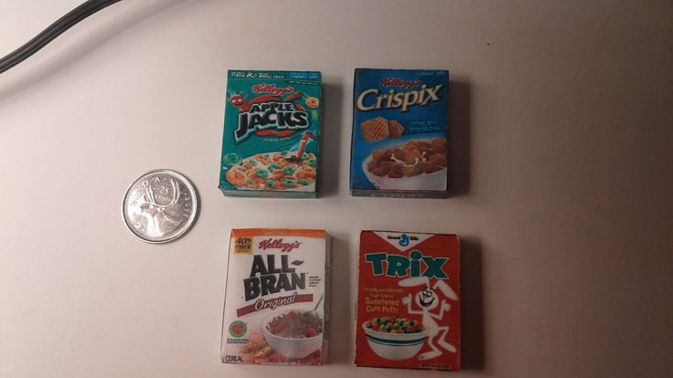 Dollhouse Miniature Cereal Boxes All Bran, Trix, Apple Jacks, and Crispix 1:12 Scale by MiniaturedollhouseCA on Etsy